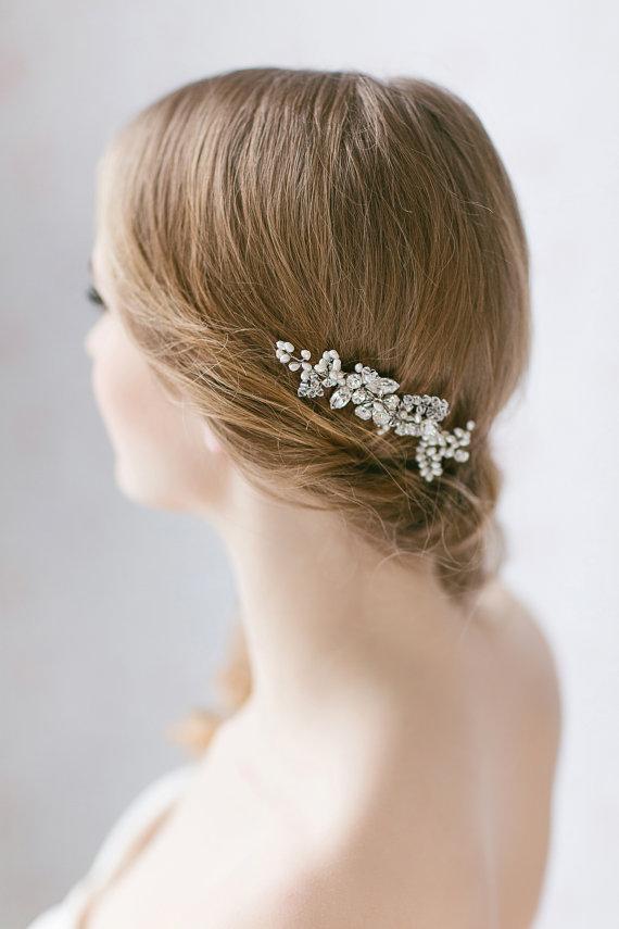 Wedding - Crystal Bridal Hair Comb, Pearl Accented Hair Comb, Wedding Hair Accessories, Bridal Rhinestone Haircomb, Bridal Hairpiece