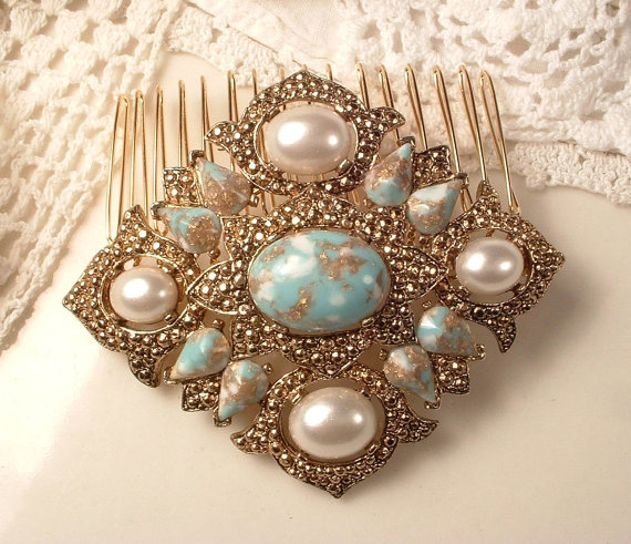 Hochzeit - 1920s Antique Gold Turquoise Blue Sash Brooch or Headpiece, Art Deco Aqua & Ivory Pearl Rose Gold Vintage Bridal Hair Comb,  Rustic Country