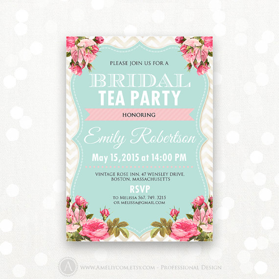 Printable Bridal Shower Invite Spring Brunch Tea Party Invitation Teal Chevron The Bride Editable Instant