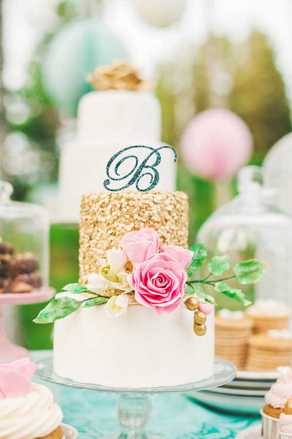 Mariage - Wedding Cake Topper Letter Monogram in Glitter - Letter Cake Topper for Party Event Wedding Cake, Engagement, Shower, Etc. (Item - CTL900)