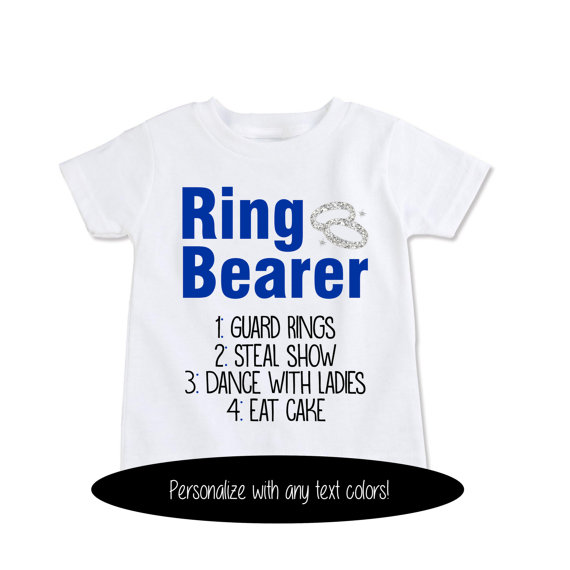 Custom Tshirt Funny Ring Bearer Gift Rehearsal T Shirt Job List Faux Glitter Rings Personalize With Any Text Colors EX 375