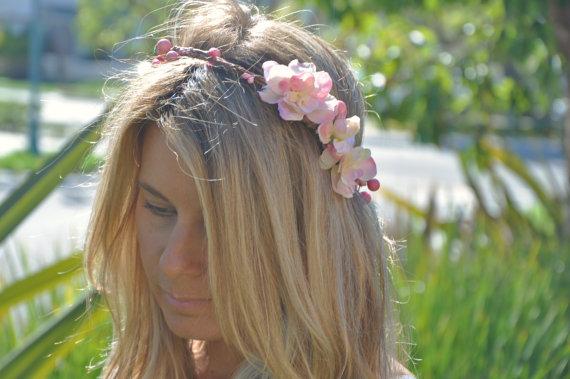 Wedding - Flower Crown, Rustic Wedding Bridal Crown, Wedding Headpiece, Flower Halo, Bohemian Hair, Woodland Hair