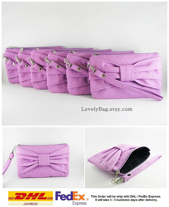 Mariage - SUPER SALE - Set of 5 Lavender Purple Bow Clutches - Bridal Clutches, Bridesmaid Clutch, Bridesmaid Wristlet,Wedding Gift - Made To Order