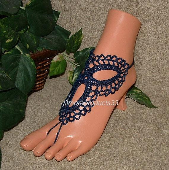 Hochzeit - Navy Blue Barefoot Sandals, Barefoot Wedding, Foot Jewelry, Nude Shoes, Crochet, Beach, Anklet, Navy Blue, Crochet Sandals, Barefoot Sandals