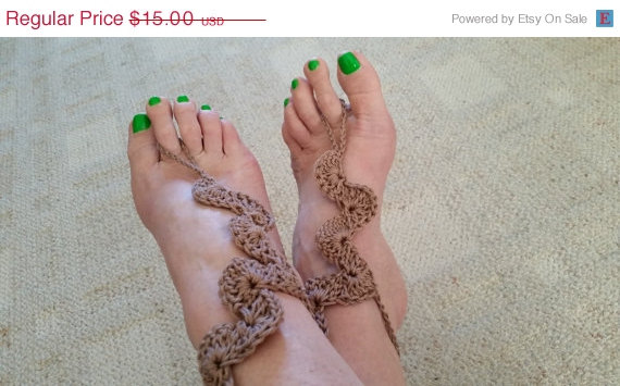 Mariage - ON SALE Barefoot sandals Beach anklet Beach wedding Dancing Crochet Yoga shoes Nud
