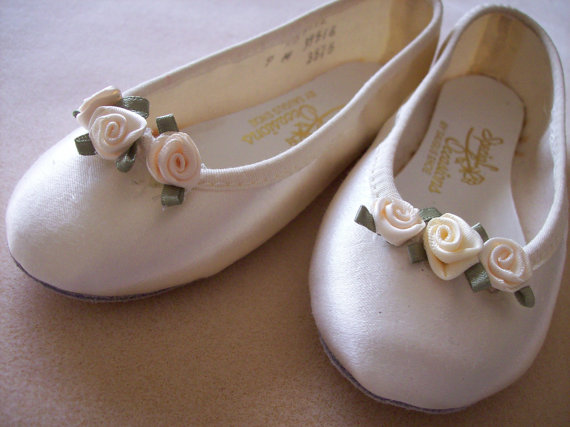 Satin Ballet Flats Girl Child Shoe With Rosebuds In White Or Ivory ...