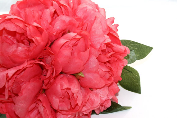 Hochzeit - Full Coral Pink Peony BOUQUET -- Artificial Flower, Wedding Bouquet