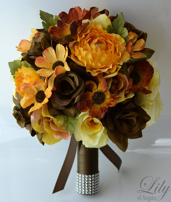 """Hochzeit - 17 Piece Package Wedding Bridal Bride Maid Of Honor Bridesmaid Bouquet Boutonniere Corsage Silk Flower BROWN FALL YELLOW """"Lily of Angeles"""""""