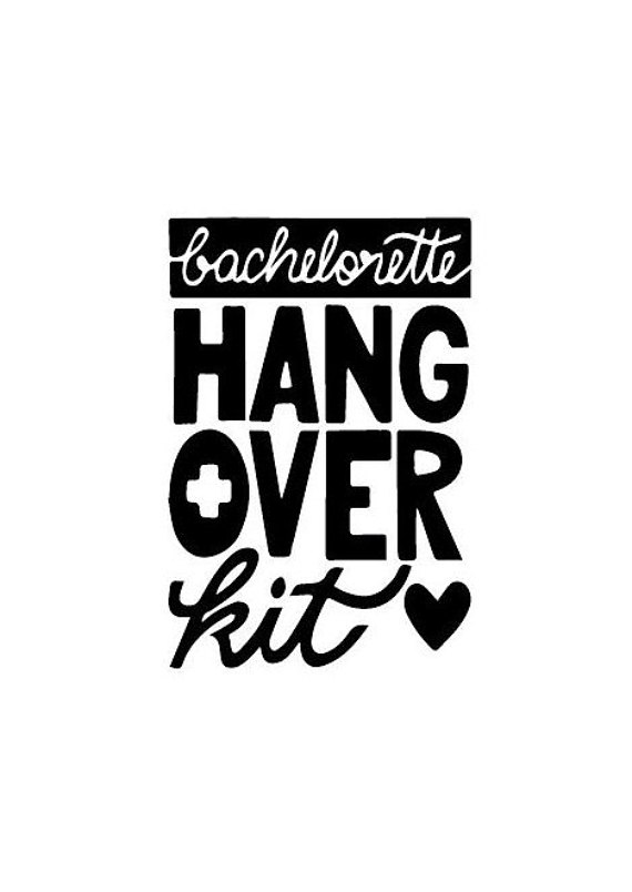 Bachelorette Hangover Kit With Heart Custom Rubber Stamp