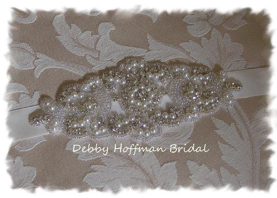 Mariage - Pearl Rhinestone Crystal Bridal Headband, Rhinestone Pearl Wedding Headband, No. 3080HB, Pearl Bridal Head Piece, Wedding Hair Accessories