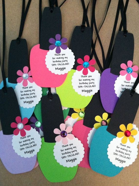 Spa Party Favor Tags - Nail Polish Favor Tags Set Of 12