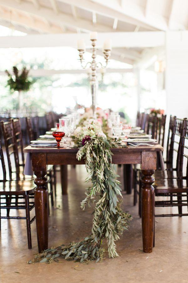 Свадьба - Wooden Tables With Garland Centerpiece