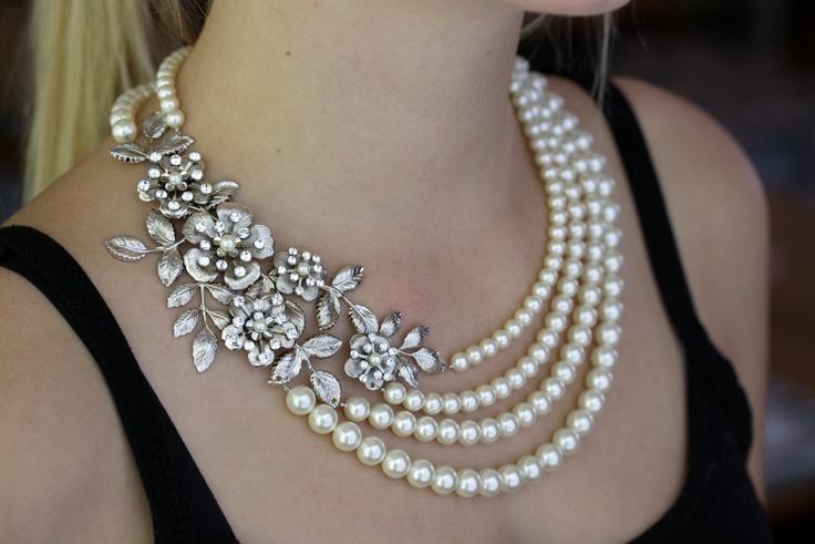 زفاف - Statement Wedding Necklace MultiStrand Bridal Pearl Necklace Vintage Flower Leaf Necklace Wedding Jewelry LISSE