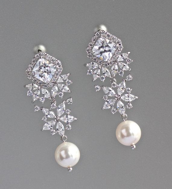 Boda - Crystal Bridal Earrings, Bridal Chandelier Earrings, Pearl Drop Earrings, Bridal Jewelry, LISA RP