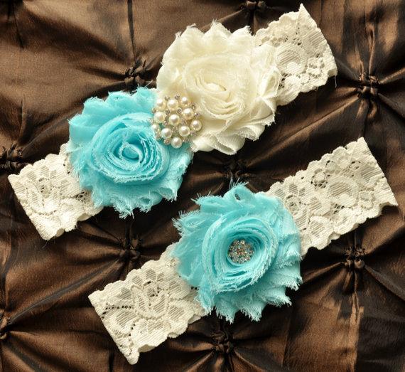 Свадьба - Wedding Garter Set, Bridal Garter Set - Ivory Lace Garter, Keepsake Garter Toss Garter Shabby Chiffon Rosette Light Aqua Wedding Garter Belt