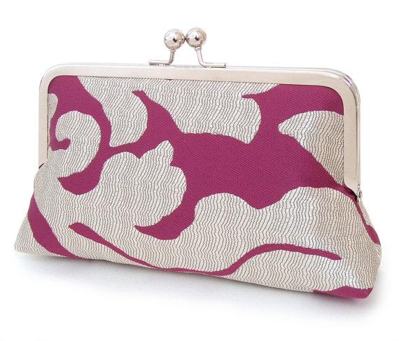 Mariage - Clutch bag purse, wedding bag, bridesmaid gift, bridal clutch, gift box, RASPBERRY RIPPLE