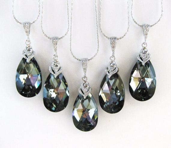 Mariage - 10% OFF SET of 3 Silver Night Black Swarovski Crystal Teadrop Necklace Wedding Jewelry Bridesmaid Gift Bridal Necklace Dark Grey (N002)