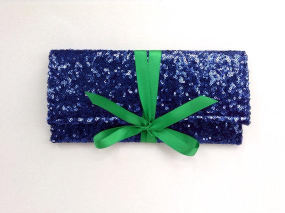 Hochzeit - Navy blue sequin clutch with emerald green bow // bridesmaid clutch //Sparkle glitter envelope slim wedding bag // Custom colors