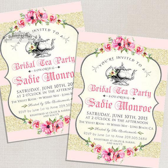 Blush Pink Bridal Shower Invitations Tea Party High Tea Bridal Tea