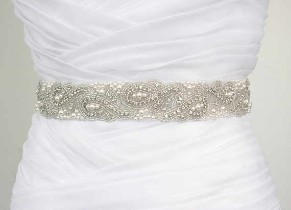 Mariage - Best Seller - ELYNN - Vintage Inspired Wedding Belt, Bridal Crystal Rhinestone Swarovski Pearl Beaded Sash