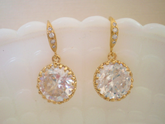 زفاف - Wedding Earrings, Bridesmaid Earrings, Bridal Jewelry, Clear Round Diamond Earrings, Gold CZ Earrings