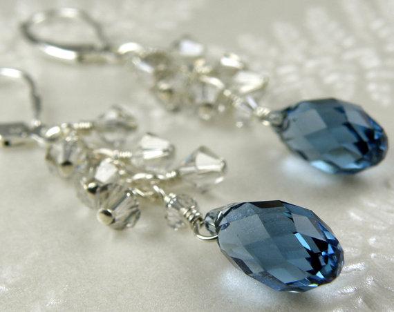 Hochzeit - Sapphire Blue Crystal Earrings, Sterling Silver, Dangle, Bridesmaid, Bridal Party, Wedding, Custom, Handmade Jewelry, September Birthday