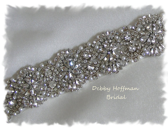Свадьба - Bridal Belt, 41 inch Vintage Style Pearl Wedding Belt, Crystal Pearl Bridal Sash, Jeweled Wedding Dress Belt, Pearl Belt, No. 4069S-41