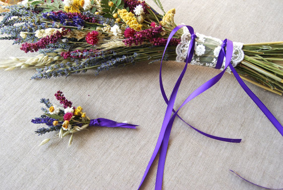 Mariage - Custom for Derek SHIP To KOREA Kiss Me Quick Wedding  Brides Bouquet AND Groom's Boutonniere of Lavender  dried flowers