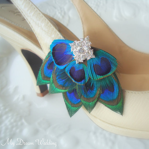 Свадьба - Peacock Shoe Clips. Stunning, Bridal, Wedding, Bridesmaids. Exquisite Original Design -  Style 101