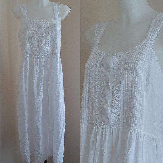 Free Shipping Vintage White Cotton Nightgown, French Maid, White ...