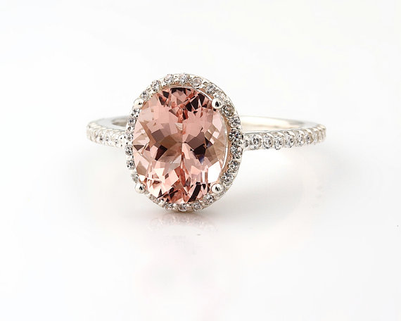 Свадьба - Natural AAA Pink Morganite  Solid 14K White Gold Diamond engagement  Halo Ring - Gem824