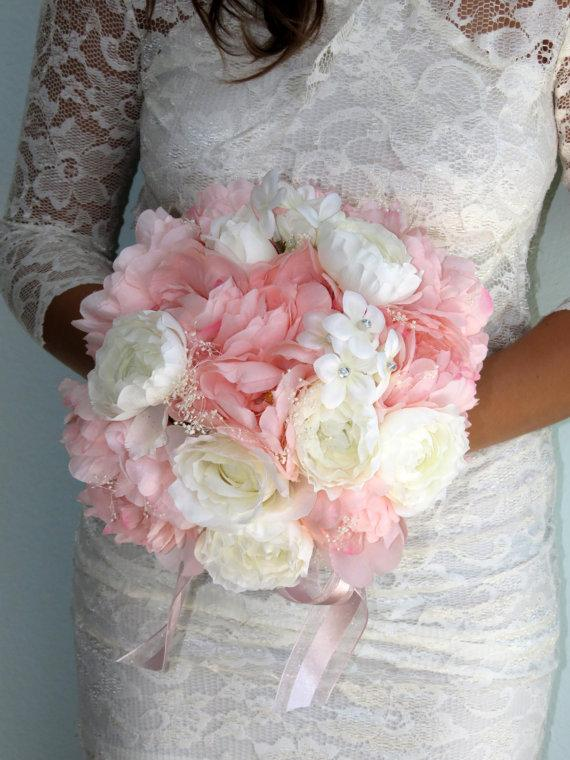 Very Cute Wedding Bridal Bouquet Silk Flowers Peony Roses Pink And