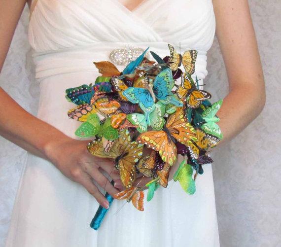 زفاف - Butterfly Wedding Bouquet, in Teals, Greens, Oranges, and Plums