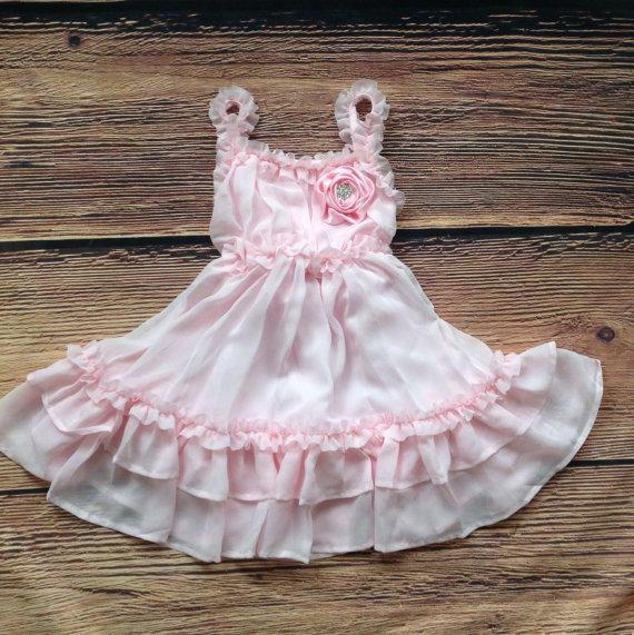 Свадьба - Pink Dress, Light Pink Dress, Vintage Dress, Pink Flower Girl Dress, Beach Wedding Dress, Rustic Wedding, Western Country Dress, Lace Dress