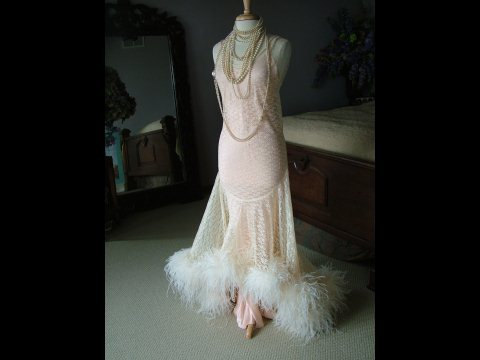 Wedding - 1920s inspired wedding dress evening gown bridal gown oozing with ostrich feathers