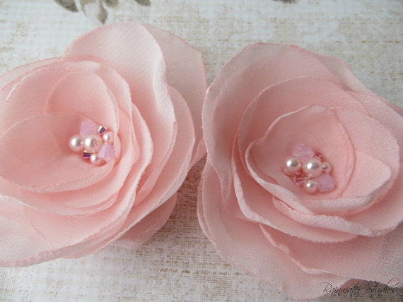 Hochzeit - Wedding Hair Flower, Ballerina Pink Hair Flower Clips, Shoe Clips, Bridal Accessory