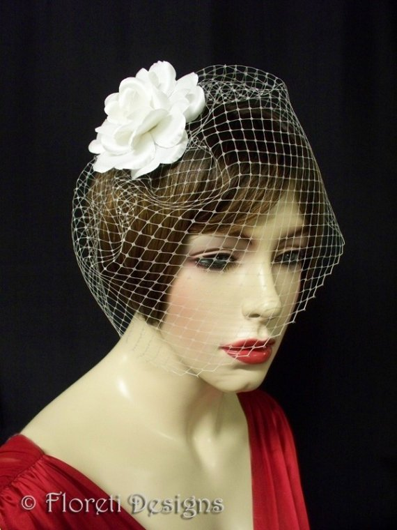 Mariage - Birdcage Veil White French Blusher 9in -Ready Made