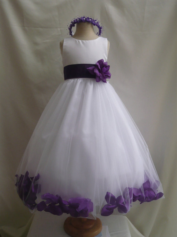 Flower Girl Dresses White With Purple Rose Petal Dress Fd0pt