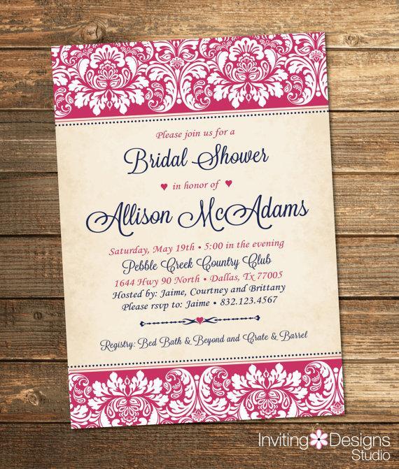 Elegant Bridal Shower Invitation Wedding Damask Pink Navy Blue Rustic Formal Customize Your Colors Printable File