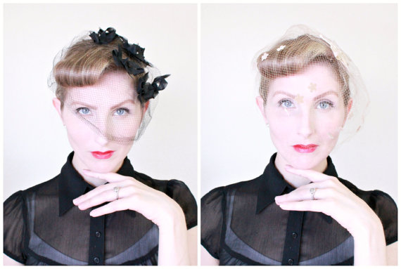 Mariage - 1950s Veils / VINTAGE / Birdcage Veil / Lot of 3 / Black Bows / Champagne / Red / Duster Veil / LOVELY