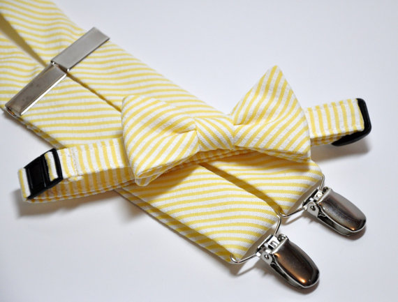 Свадьба - Mens Bow Tie and Suspender Set Yellow Striped Seersucker