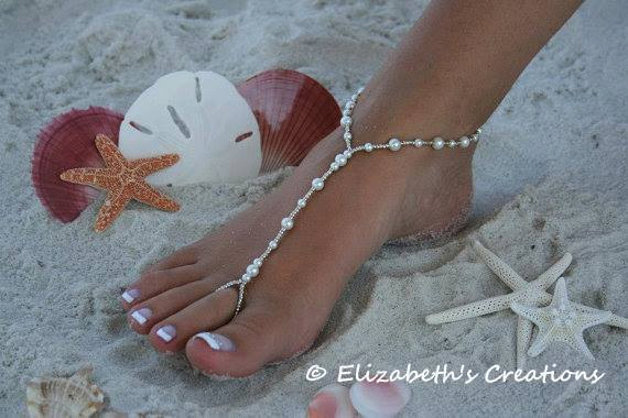 Mariage - Barefoot Sandal - Simply Elegant  White Pearls and Silver Beads SHIPPING TO CANADA