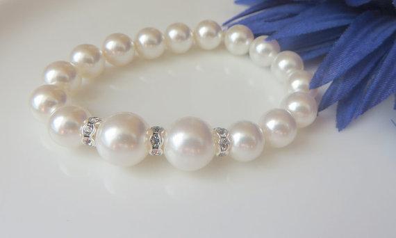 Mariage - Bridal Bracelet, White  Swarovski pearls Bracelet, Clear Rhinestone, Brides Jewelry- Free US Shipping