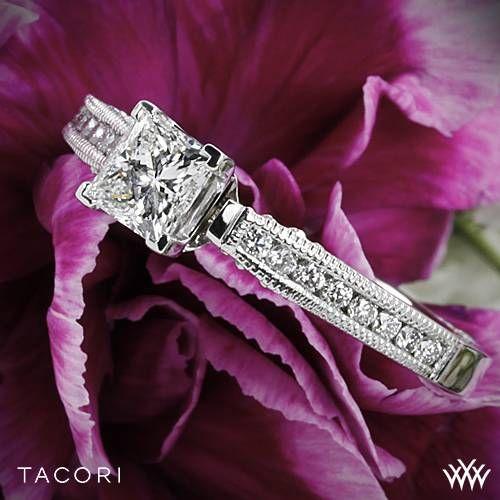 Свадьба - 18k White Gold Tacori 3003 Simply Tacori Crescent Complete Diamond Engagement Ring For Princess With 0.50ct Diamond Center