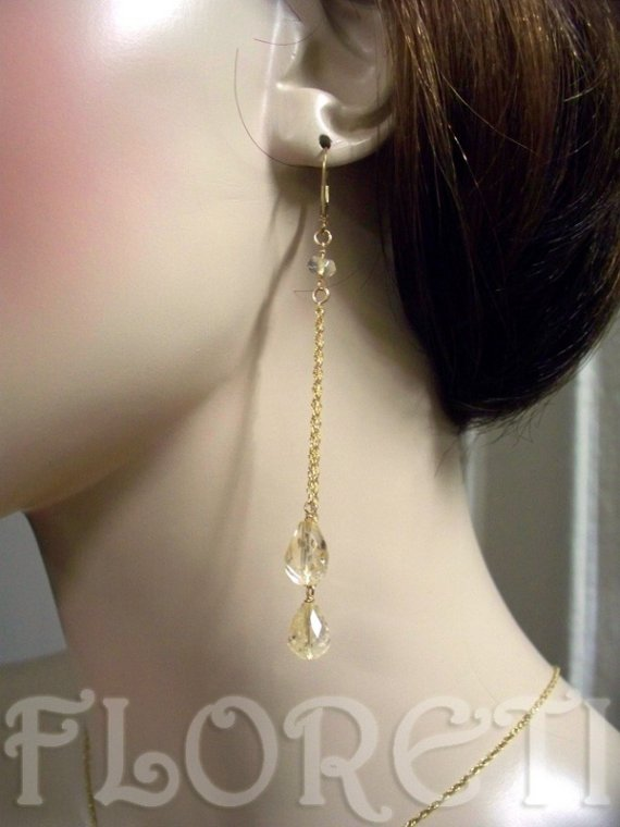 Mariage - Citrine Briolette Dangle Earrings Opera Bridal Jewelry 14k Gold Filled -Ready Made
