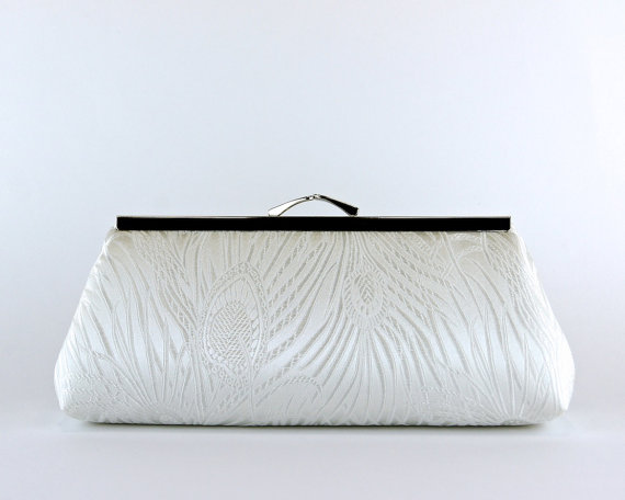 Wedding - EllenVintage Peacock off White  Clutch (choose your color), Silk lining, Bridal clutch, Bridesmaid gift, Wedding clutch, Bridesmaid clutch