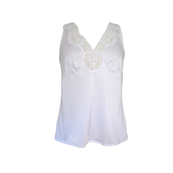 Свадьба - White Satiny Lace Babydoll Camisole Size Medium