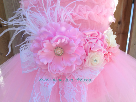 Mariage - NEW-4 pcs vintage Flower girl dress Dress up tutu Party outfit party dress birthday outfit princess tutu flower girl sash headband