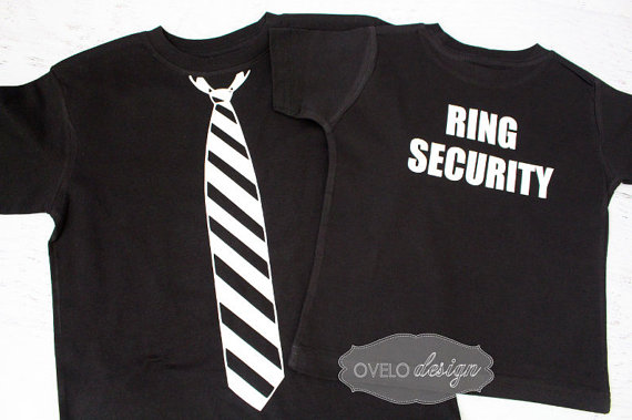 Mariage - Ring Security Ring Bearer T-shirt on Back Tie on Front