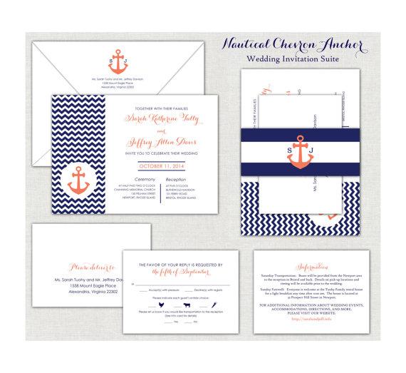 Wedding - Coral & Navy Blue Nautical Chevron Anchor Wedding Invitation Suite
